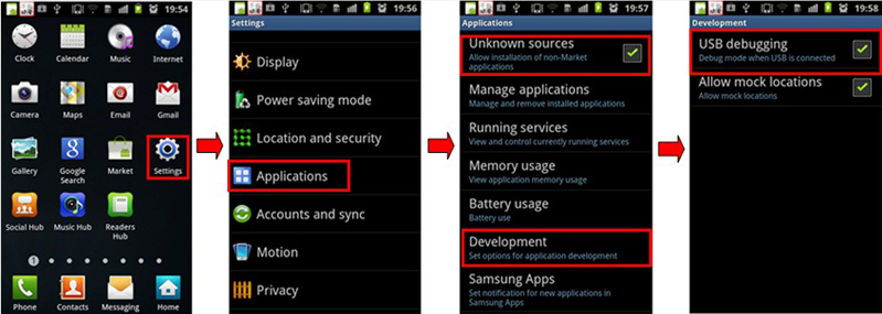 Enable USB debugging on Android device